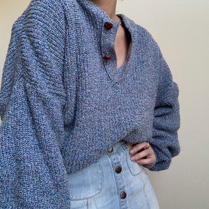 Vintage Sweaters - Heathered Henley Slouchy Knit Pullover